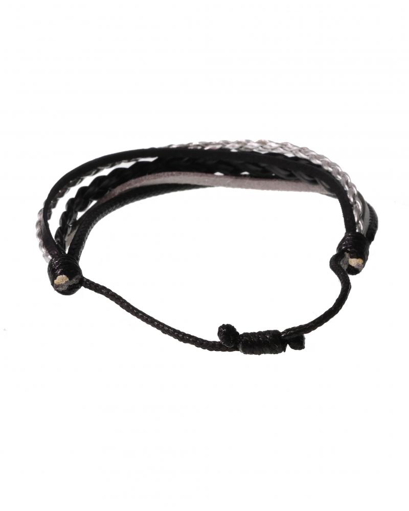 Dark Scent Black&Silver Leather Bracelet with Knot Method