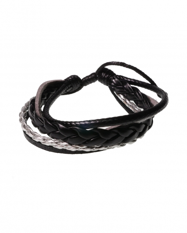 Dark Scent Black&Silver Leather Bracelet with Knot Method