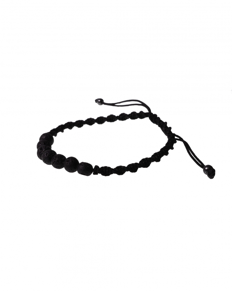 Black Lava Bracelet with Black Rope and Unique Knot Method