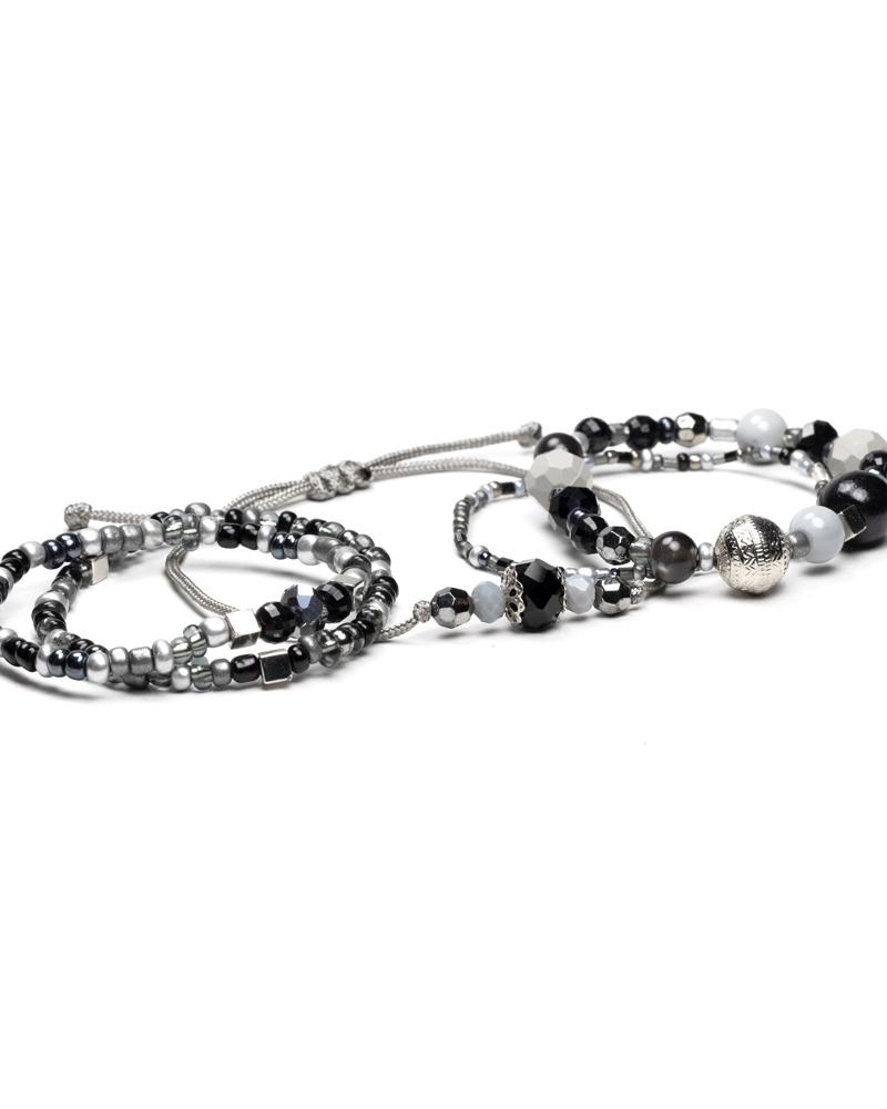 GreyStain Bratari Margele Semipretioase Negru Argintiu