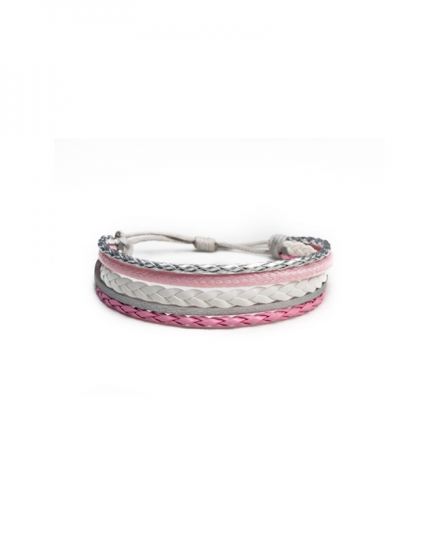 Icy Pink Leather Bracelet with Knot Method, with pink white and silver