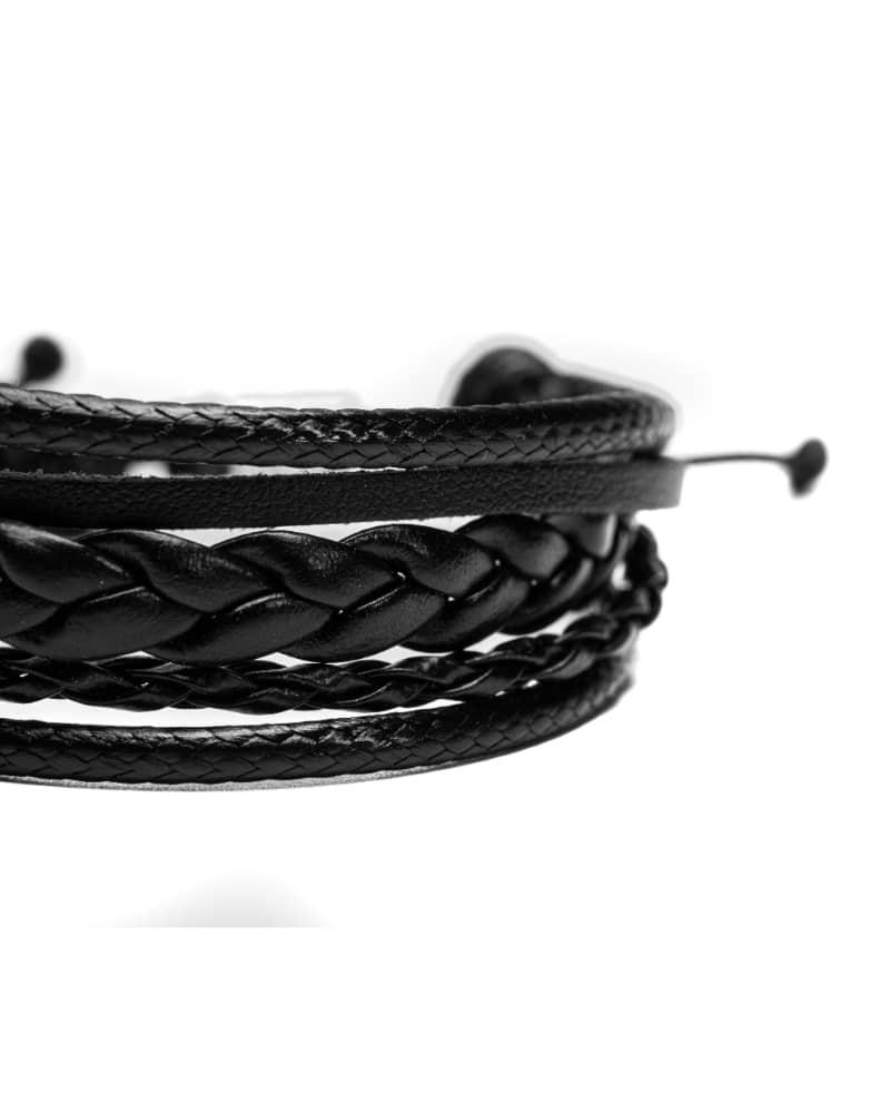 Origins Leather Bracelet, Full Black, Bratara din piele neagra unisex
