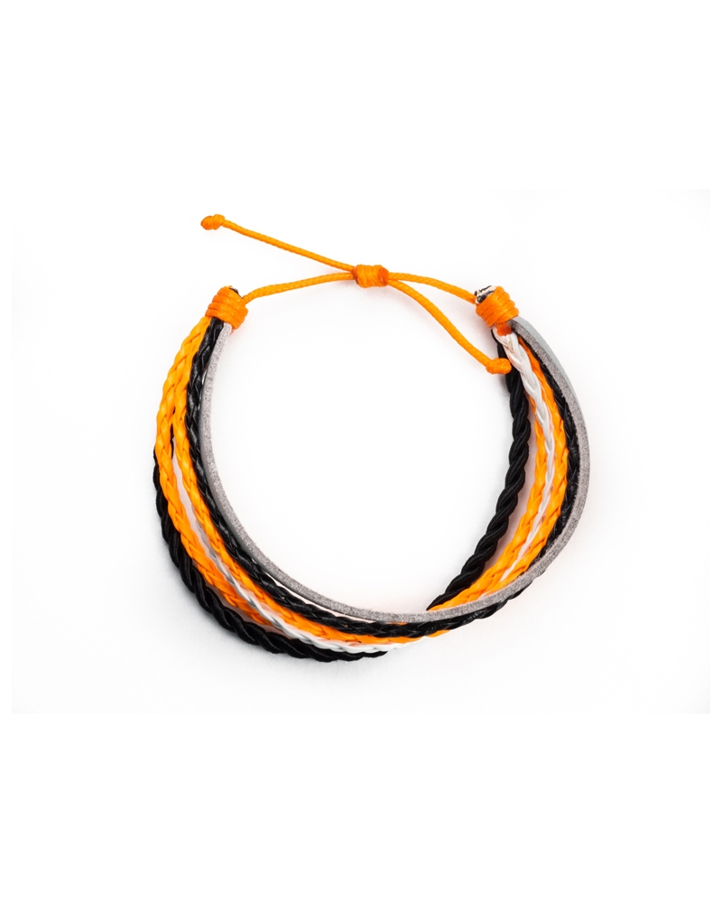 Anemone Leather Bracelet made with knot method special for a easy wearing, orange,white & black colors