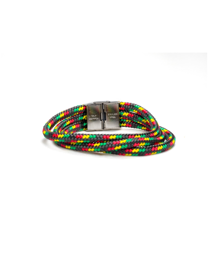 Marley Paracod Bracelet made with stainless steel gripping sistem and paracod cord rasta colors