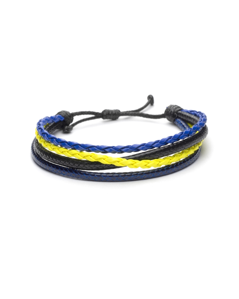 Jeans Choice Bracelet made of blue yellow and black leather and quality materials