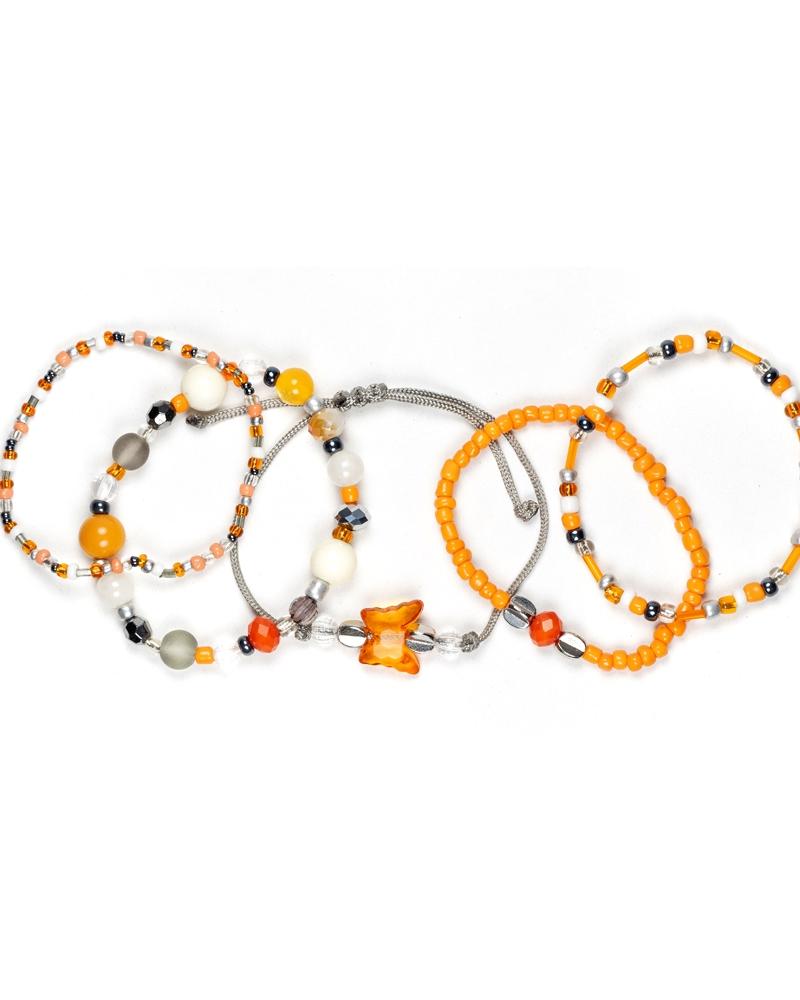OrangeFly Set Bratari Semipretioase Portocalii Gri