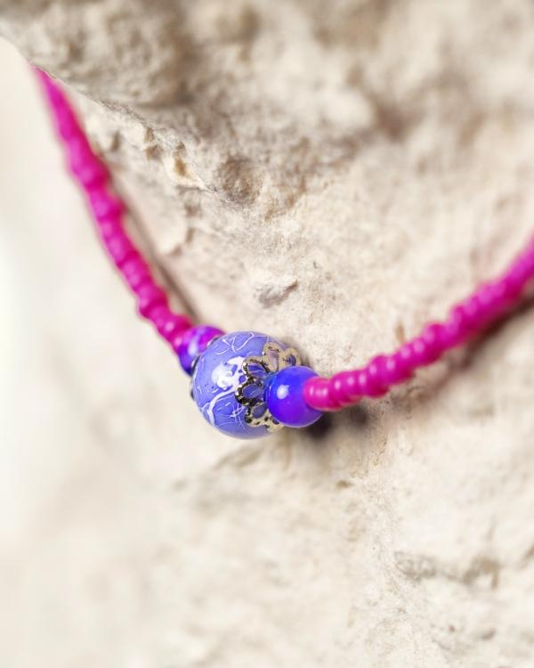 Girly Beaded Choker made of tiny pink sand m=beads