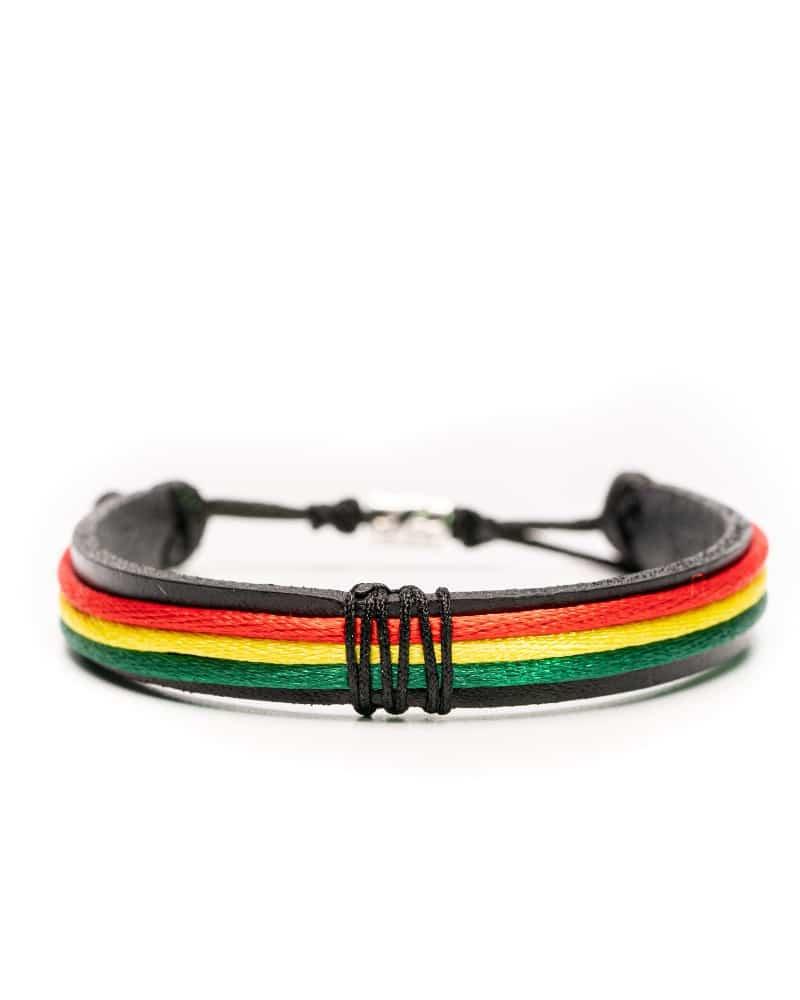 Simple Bob Bracelet, bratara barbati cu tente Jamaicane, Rasta Reggae